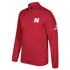 Men's Sideline Climalite 1/4 Zip by Adidas-LS-Red