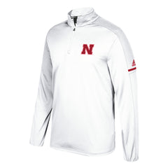 Men's Nebraska Sideline Climalite 1/4 Zip by Adidas-LS-White