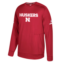 2017 Nebraska Football Players Sideline ClimaWarm Crew Sweatshirt by Adidas- LS-Red