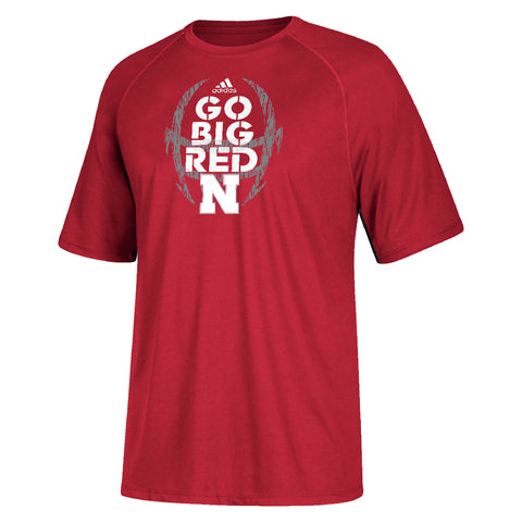 Men's Sideline Mantra Go Big Red Climalite Tee by Adidas-SS-Red