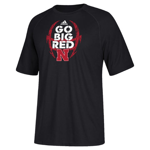 Men's Sideline Mantra GO BIG RED Climalite Tee by Adidas-SS-Black