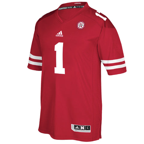 #1 Premium Nebraska Football Jersey for 2017 by Adidas-Red-SS