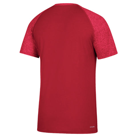 Men's Linear Play Logo Ultimate Contrast Raglan Sleeve Tee by Adidas-SS-Red
