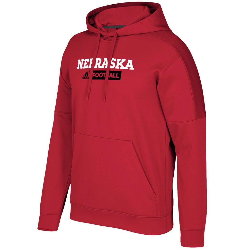 big sale 562da 82367 Men s Nebraska Football Sideline Team Issue Fleece Pullover Red Hoodie by  Adidas ...