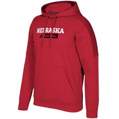 Men's Nebraska Football Sideline Team Issue Fleece Pullover Red Hoodie by Adidas