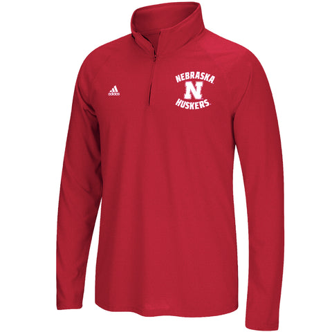 Men's Husker Noise Ultimate Sideline 1/4 Zip Tee by Adidas-LS-Heather Red