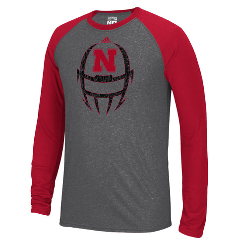 Men's White Noise Helmet Ultimate Contrast Raglan Sleeve Tee by Adidas-LS-Grey