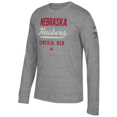 Men's University of Nebraska Script Tri-Blend Tee by Adidas-LS-Grey