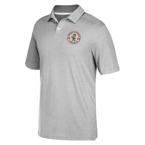 1 LEFT! Crackled Badge Soft Cotton/Poly Adidas Polo -SS-Grey