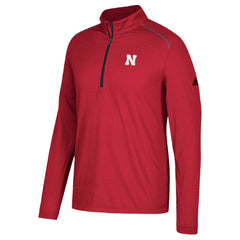 Men's Nebraska Ultra Light Golf 1/4 Zip Red Pullover by Adidas