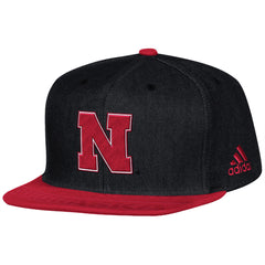 Nebraska Football Player Flat Brim Snapback Hat by Adidas-Charcoal Grey