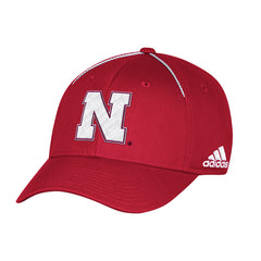 Nebraska Football Coaches Structured Flex Hat by Adidas-Red