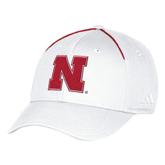 Nebraska Football Coaches Structured Flex Hat by Adidas-White