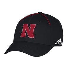 Nebraska Football Coaches Structured Flex Hat by Adidas-Black