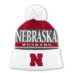 Nebraska Huskers Grey Cuffed Knit with Pom by Adidas - Red