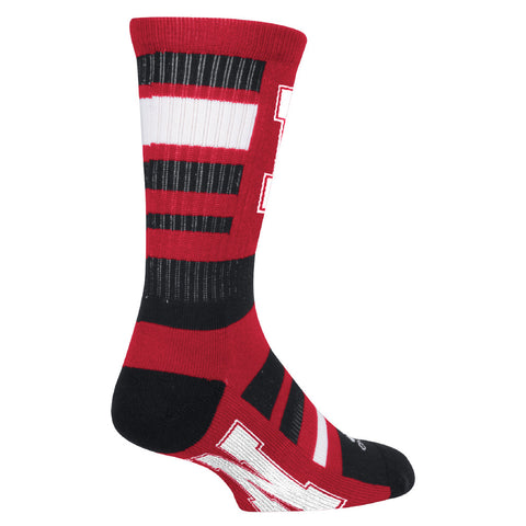 Men's Striped Textured Crew Sock by Adidas-Red