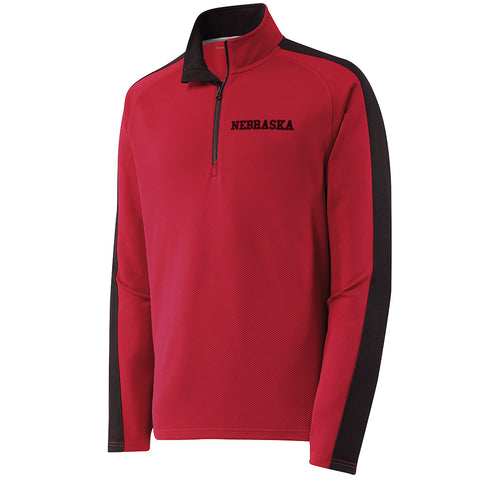 Men's Nebraska Performance Textured 1/4 Zip with Black Side Insert by RZR - Red - LS