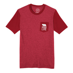 Men's Retro Tone on Tone Pocket Good Life Tee-SS-Red