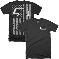 Men's Nebraska All American Flag Tee-SS-Black