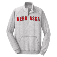 Men's Ultra Soft 1/4 Zip Sweatshirt with Nebraska Screen Print by RZR-LS-Grey
