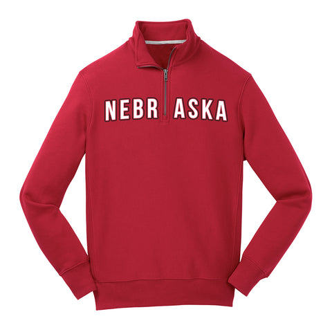 Men's Nebraska 1/4 Zip Fleece-Red