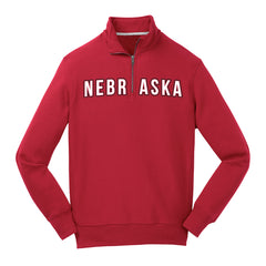 1 LEFT! Men's Nebraska 1/4 Zip Fleece-Red