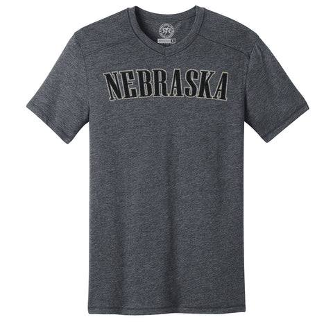Men's V-Neck Ultra Soft NEBRASKA Screen Print Tee-SS-Charcoal