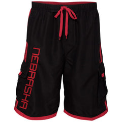 Men's Nebraska Swim Trunks with Cargo Pockets-Black/Red