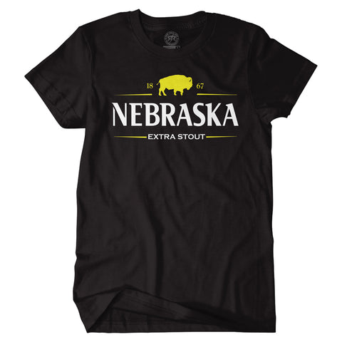 Men's Nebraska Extra Stout Tee-SS-Black