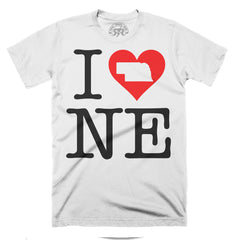 Men's I Love NEbraska Tee-SS-White