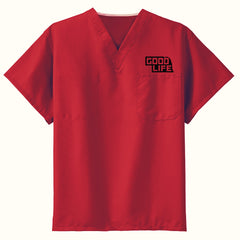 Men's/Women's V-neck Scrub Top-Red