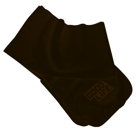 Men's Heathered Knit Fleece Scarf-Chocolate/Heather Black