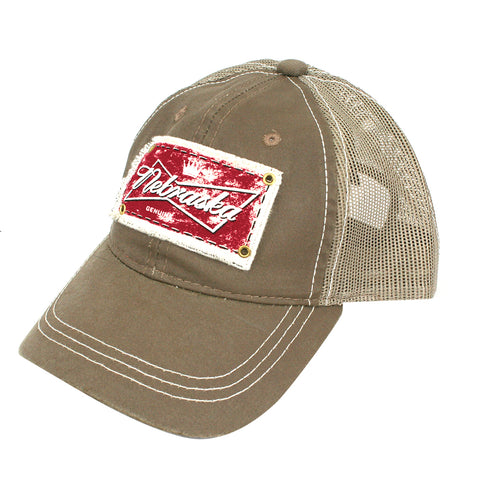 Men's Khaki Twill Unstructured Velcro Back Trucker Hat
