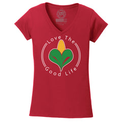 Women's Love The Good Life Red V-Neck Tee