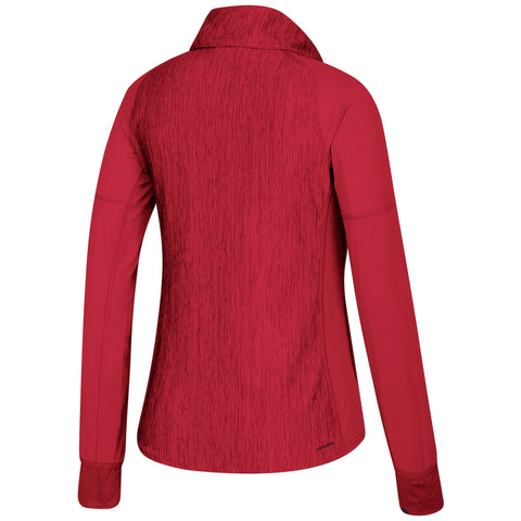 Women's Team Logo Vertical Heather 1/4 Zip Top by Adidas-LS-Red Heather