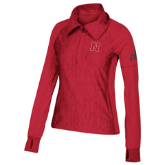 Women's Nebraska Cornhuskers Vertical Heather ADIDAS 1/4 Zip Top LS-Red Heather