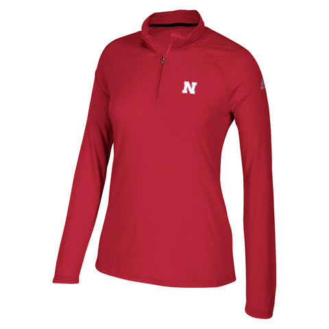 Women's N Screen Logo Ultimate 1/4 Zip Top by Adidas-LS-Red