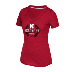 Women's Laurel Bar V-Neck Tee by Adidas-SS-Red