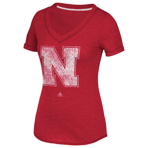 Women's Distressed Logo N V-Neck Tee by Adidas-SS-Red