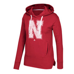 Women's Printed Stitch Logo Fleece Hood Sweatshirt by Adidas-LS-Red