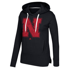 1 LEFT! Women's Printed Stitch Logo Fleece Hood Sweatshirt by Adidas-LS-Black