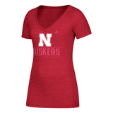 Women's Tri-Blend V-Neck Tee by Adidas-SS-Heather Red