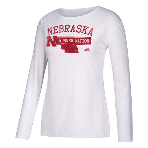 Women's Husker Nation Distressed Crew Neck Top by Adidas-LS-White