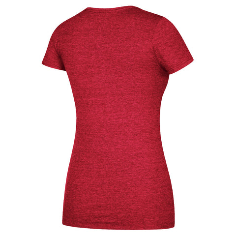 Women's Crackled Sweep Distress Cap Sleeve Tee by Adidas-SS-Red