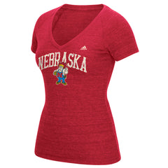 Women's Vintage Vault Arch Tri-Blend V-Neck Tee by Adidas-SS-Red