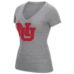 Women's Interlocking NU Tri-Blend V-Neck Tee-SS-Grey