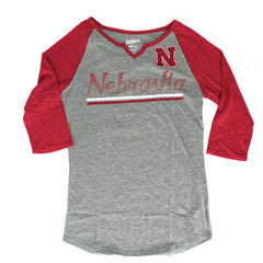 Juniors Over the Line V-Notch Nebraska Top by Adidas-Grey