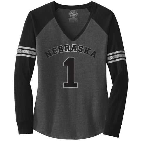 Women's Nebraska #1 V-Neck Raglan Shimmer Ink Tee-LS-Charcoal