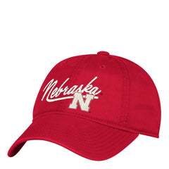 Women's Script Nebraska Huskers Red Adidas Adjustable Slouch Hat Front