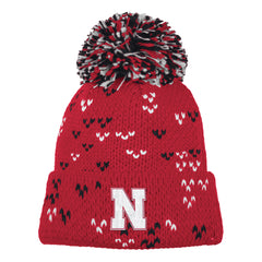 1 LEFT! Women's Red Thick Gauge Jacquard Pattern Cuffed Knit Pom Hat by Adidas